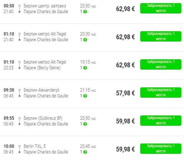 Расписание автобусов Flixbus из Берлина в Париж
