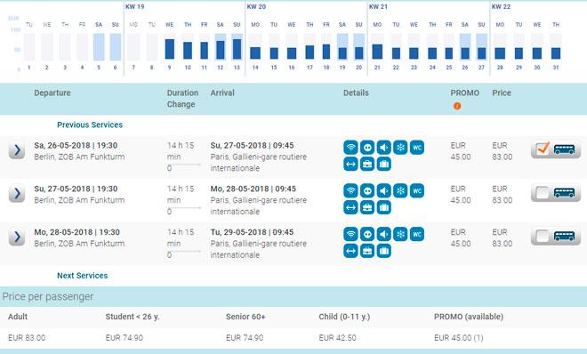 Расписание автобусов Eurolines из Берлина в Париж