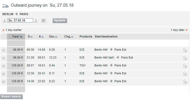 Расписание поездов из Берлина в Париж