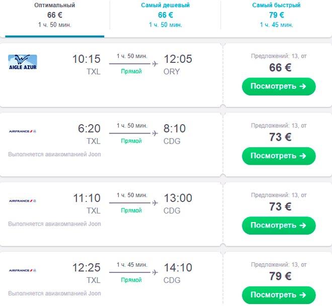 Расписание авиарейсов из Берлина в Париж