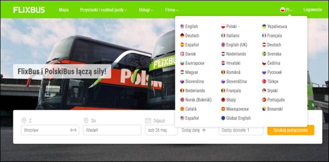 Языковые версии сайта PolskiBus