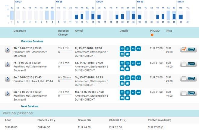 Расписание автобусов Eurolines Франкфурт-Амстердам