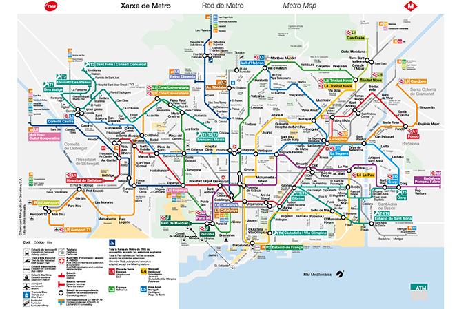 Карта метро Барселона