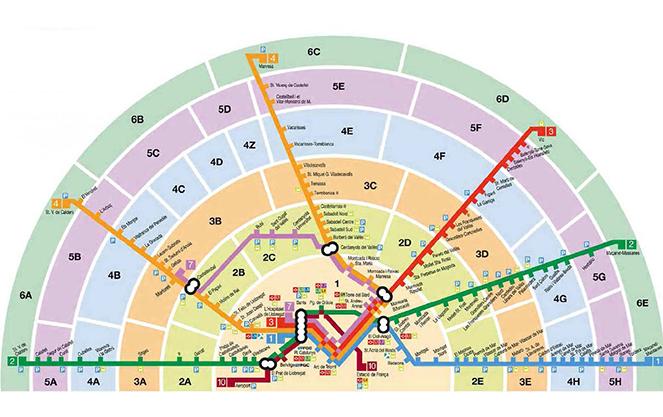 Карта зон метро Барселона