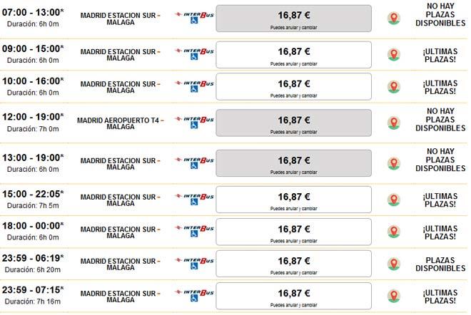 Расписание автобусов из Мадрида в Малагу