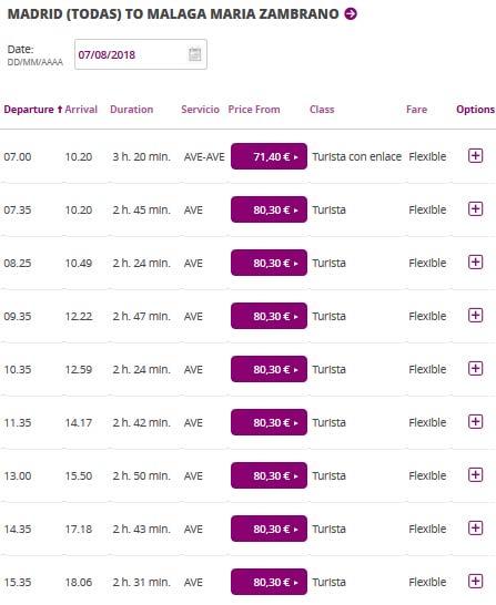 Расписание поездов из Мадрида в Малагу