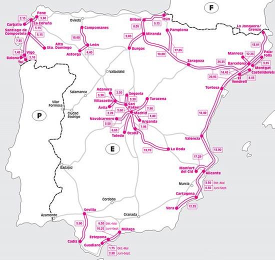 Карта платных дорог в Испании
