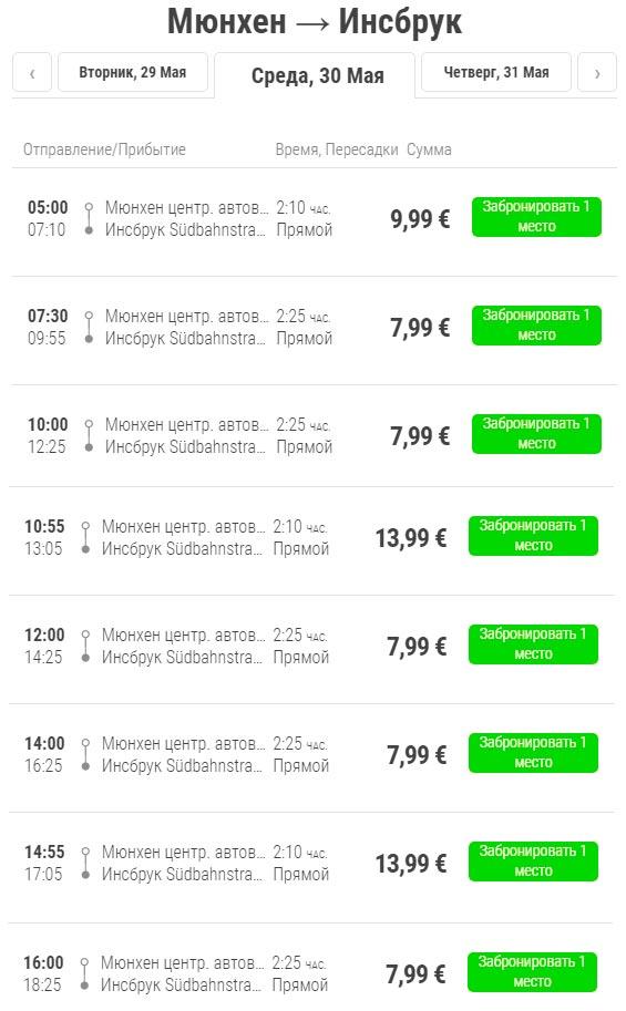 Расписание автобусов Flixbus из Мюнхена в Инсбрук