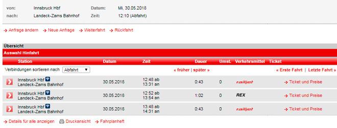 Расписание поездов из Инсбрука в Ландек-Цамс