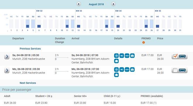 Расписание автобусов Eurolines из Мюнхена в Нюрнберг