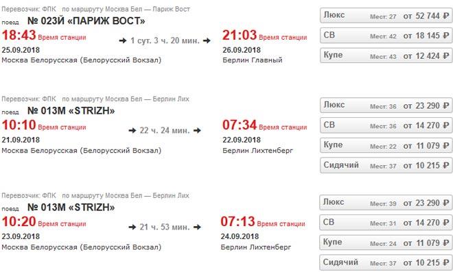 Расписание поездов из Москвы в Берлин