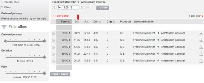 Расписание поездов Франкфурт-Амстердам на сайте Deutsche Bahn-6