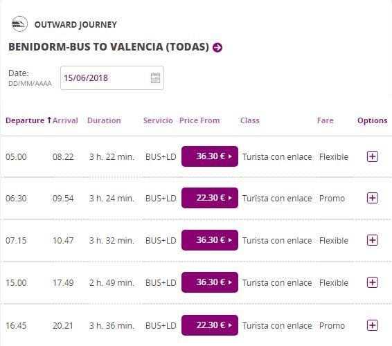 Расписание поездов из Бенидорма в Валенсию