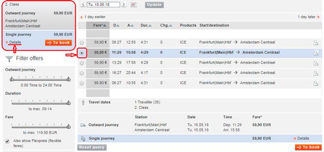 Расписание поездов Франкфурт-Амстердам на сайте Deutsche Bahn-7