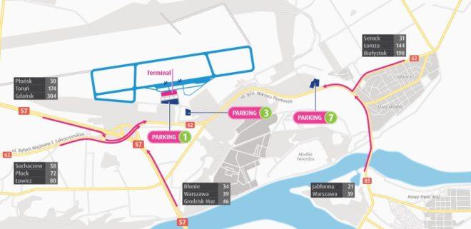Схема аэропорта Варшава Модлин
