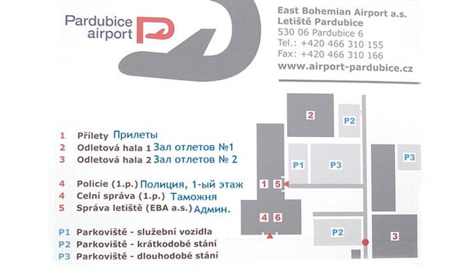 Схема терминалов аэропорта в Пардубице
