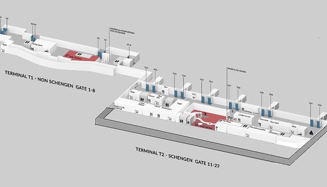 Схема террминала 1 в Гданьском аэропорте имени Леха Валенсы