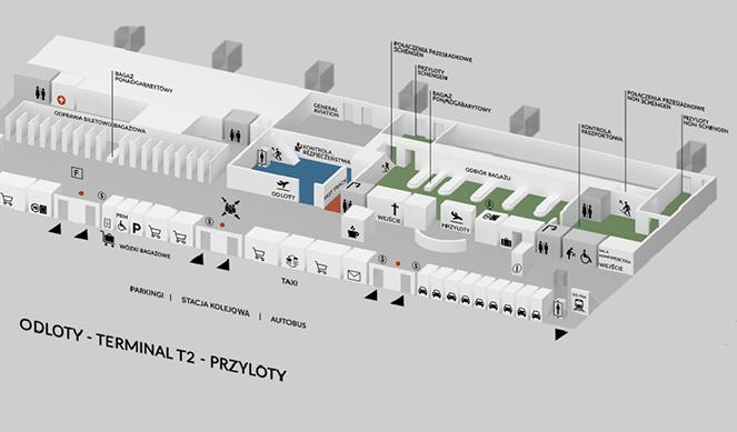 Схема террминала 2 в Гданьском аэропорте имени Леха Валенсы