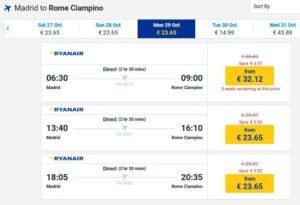 Стоимость авиабилетов Мадрид-Рим