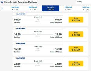 Расписание самолетов из Барселоны в Мальорку