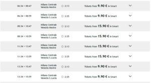 Расписание поездов из Милана в Венецию