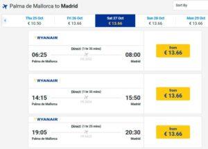 Расписание самолетов из Мальорки в Мадрид
