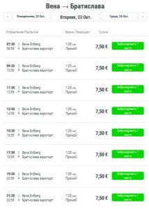 Расписание автобусов Вена-Братислава