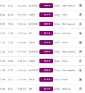 Расписание поездов из Аликанте в Малагу с пересадкой в Валенсии