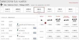 Расписание самолетов из Валенсии в Малагу