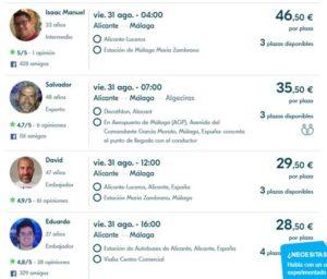 Попутчики на сайте Blablacar из Аликанте в Малагу