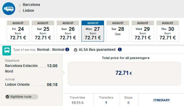 Расписание автобуса из Барселоны в Лиссабон