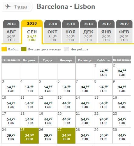 Расписание самолетов из Барселоны в Лиссабон