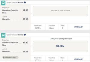 Расписание автобусов ALSA Барселона-Марсель