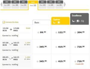 Расписание самолетов Vueling Барселона-Марсель