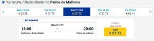 Стоимость авиабилетов Баден-Баден-Мальорка