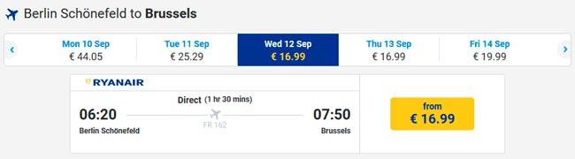 Расписание самолетов из Берлина в Брюссель