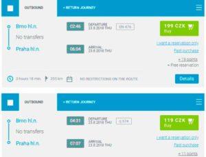 Расписание поездов из Брно в Прагу