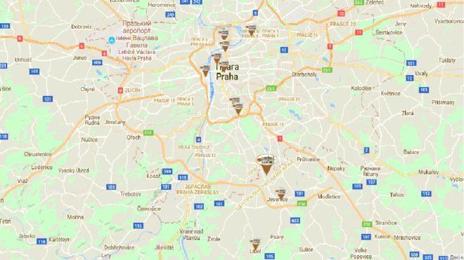 Карта ресторанов в Праге
