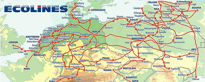 Карта маршрутов Эколайнс