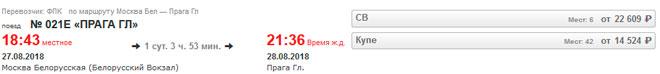 Расписание поезда из Москвы в Карловы Вары