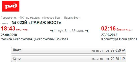 Расписание поезда Москва-Франкфурт
