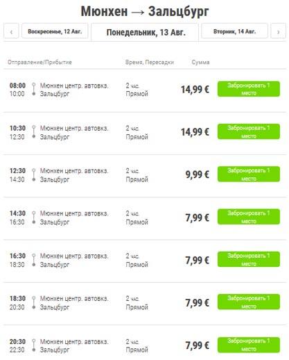 Расписание автобусов из Мюнхена в Зальцбург
