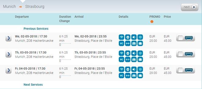 Расписание автобусов из Мюнхена в Страсбург
