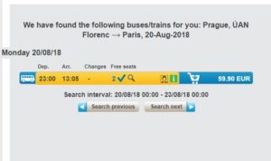 Расписание автобусов RJ Прага-Париж