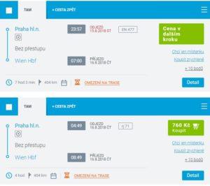 Расписание поездов из Праги в Вену