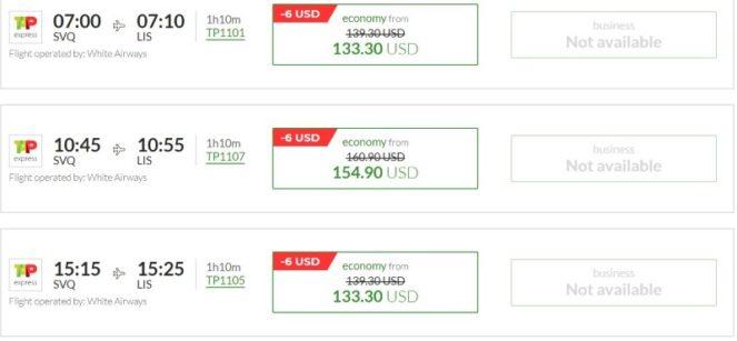 Расписание самолетов из Севильи в Лиссабон