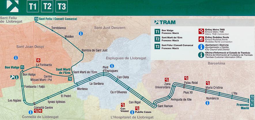 Схема трамваев в Барселоне