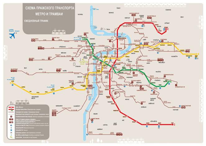 Карта трамваев и метро Праги