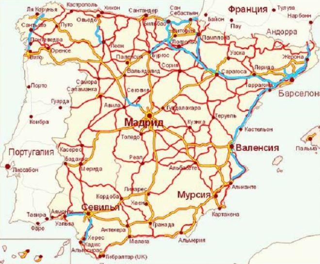 Карта железных дорог Испании