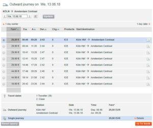 Покупка билета на поезд Кельн-Амстердам шаг 3